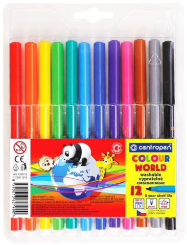 Popisovač 7550/12 sada 12 barev plast. hrot 1 mm
