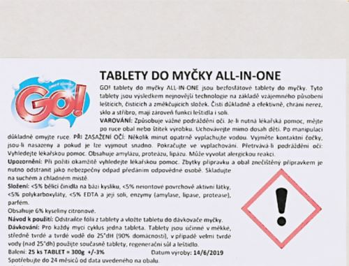 Tablety do myčky GO! 5v1 60 ks