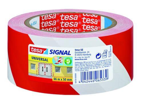 Lepící páska výstražná červenobílá 50mm x 66m (TESA)_2