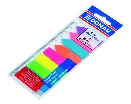 Záložky samolepicí, 12 cm, plastové, mix neonových barev, s pravítkem, DONAU