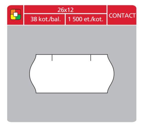 Cenové etikety Contact 26x12 červené signální