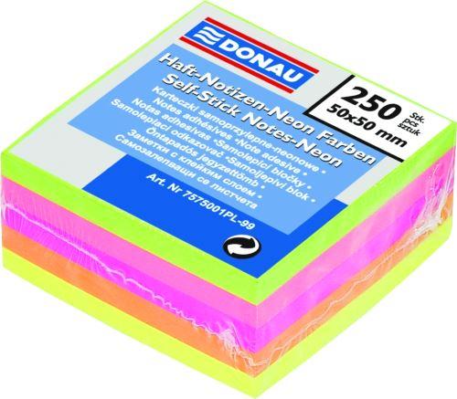 Samolepicí bloček v neonových barvách, 50x50mm, 250 listů, DONAU, mix barev _2