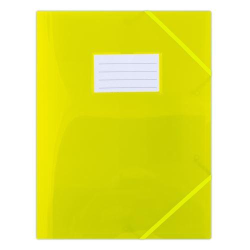 Odkládací mapa 253 PP se štítkem a gumou žlutá poloprůhledná_2