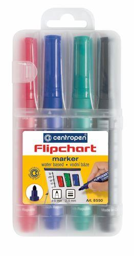 Značkovač 8550/4 FLIPCHART sada 4 barev kulatý hrot 2,5 mm