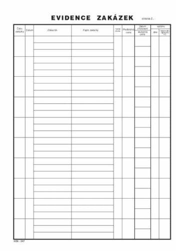 Kniha zakázek ( sešit A4 - 20 listů )