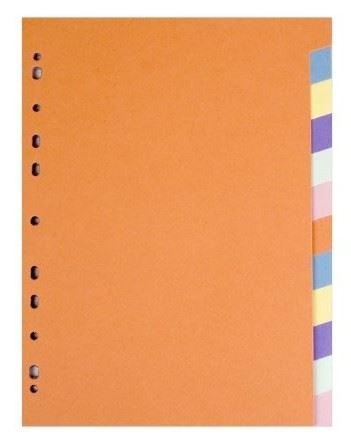 Rejstřík - rozřaďovač  A4 12 barev papírový
