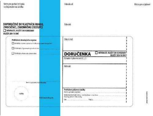 Doručenka C5, modrý pruh vytrhávací doručenkou  a odtr. poučením, zkrácená ,text