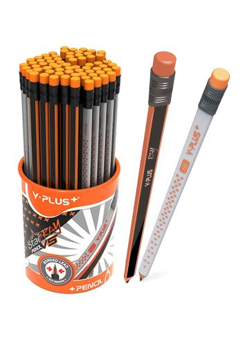 RAY vs STAR - grafitové tužky trojhranné s pryží, mix motivů , Y-PLUS+_2