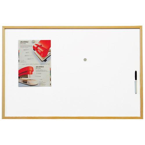 Bílá magnetická tabule 40 x 60 cm v dřevěném rámu